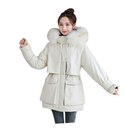 winter women down parka padded Canada - Women Medium-Long Winter Jacket Hooded Fur Collar Detachable Windproof Down Coat Oversize Cotton padded Parkas Big Pocket
