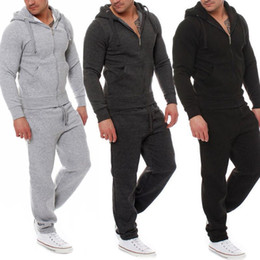 Wholesale hoodies sweatshirt tops outerwear resale online - Autumn Winter Men Tracksuit Piece Set Tops Pants Hoodie Coat Trousers Outerwear Casual Sweatshirt Suit XRQ88