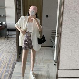 Wholesale korean casual tops design for sale – plus size Beautiful Summer new fashion design sense thin suit coat women s Korean style loose casual short sleeved top Top Coat QEdSz