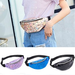 waterproof fabric lining UK - Women Girls Laser Waist Bag Fashion Portable Zipper Chest Bags Waterproof Lady Laser Pouch Geometric Lines Sequin Coin Purse BH1621 TQQ