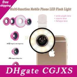macro ring light camera flash Australia - 6 In1 Multi Phone Lens Selfie Ring Flash Light With Fisheye Macro Wide Angle Camera Fish Eye Lens For Iphone 7 7 Plus Xiaomi Q0551