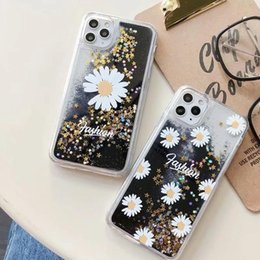 liquid glitter star case UK - Chrysanthemum Flower Liquid Case For Iphone 11 Pro Max Xr Xs Max 8 7 6 Quicksand Star Glitter Hard Pc Soft Tpu Clear Fashion Phone Cover