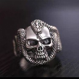 men snake ring UK - Vintage Style Snake Man Ring Devil Skull Biker Man Ring bowJ#