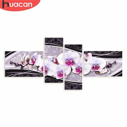 stitch paintings NZ - HUACAN DIY 5D Diamond Embroidery Cross Stitch Diamond Painting Home Decorative Gifts Fashion Flower 4pcs Needlework 0924