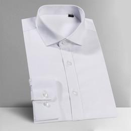 Wholesale tuxedo fabrics resale online - Men s White Shirts Tuxedo Business Formal Gentleman Wedding Party Dress Long Sleeve Stretch Fabrics Shirt XS XL XL