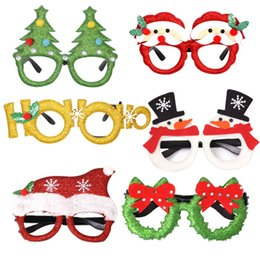 antler props Canada - Christmas Glasses Frame Glittered Santa Snowman Antler Eyeglasses Xmas Party Decoration Photo Prop Holiday Favors JK1910