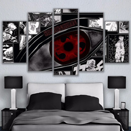 Modular Wall Art Pictures Canvas HD Impresso Anime pintura moldada 5 Pieces Naruto Sharingan Poster Modern Home Decor Quarto em Promoiio