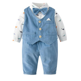 Discount baby born clothes boy new arrivals Spring Fall baby Boy Clothing Gentleman Vest + Romper+Pant 100% cotton Design romper infant new born long sleeve rompers 0-2T