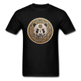 panda tee UK - Panda Mandala Special Men T Shirts Round Neck Short Sleeve Cotton Fabric Tops Tees Casual Tee Shirts Wholesale