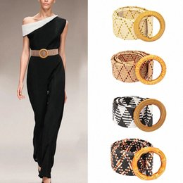 leather rope women belt NZ - Boho Braided Wide Ladies Belt For Dress Round Wooden Buckle Rope Belt For Women Fake Straw Female Waist Belts mO8y#