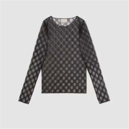 Wholesale womens designer shirts online – design Sexy Mesh Women Bottoming Shirt Jacquard Letter Womens Tight Clothing Tops Ladies Breathable Sunscreen Clothes Girls Gifts