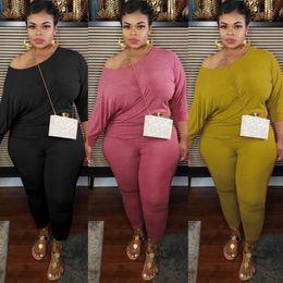 Plus Size Fashion Frauen Casual 2 Stück Set Solid Color Schulterfrei, langärmliges Oberteil und lange Hose Bodycon dünne Tracksuits im Angebot