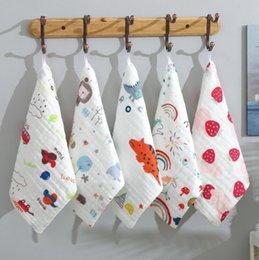 Wholesale Baby Towel 6 layer Muslin Cotton Handkerchief Rags Newborn Baby Face Towel Colorful Kids Wipe Cloth Bibs Feeding Towels 13 Designs DW5795