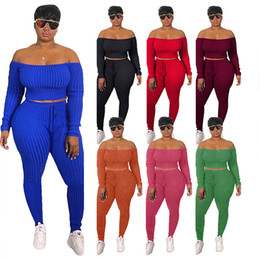 Wholesale plus off shoulder tops for sale – plus size Women Sexy Plus Size Two Piece Set Off Shoulder Crop Top Lace Up Pants Tracksuit Fall Clothing Streetwear Matching Sets