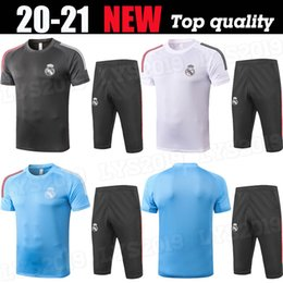 jogging suit black 2020 - 20 21 REAL MADRID Short sleeve + shorts training wear sets soccer jersey HAZARD SERGIO RAMOS BENZEMA VINICIUS camiseta f