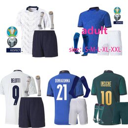 Wholesale men s shirts italy for sale – custom 20 ITALY soccer Jerseys uropean Cup national team Italy BONUCCI IMMOBILE INSIGNE kits men kids Football jersey shirt kids kit socks