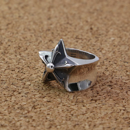 sterling silver antique rings Canada - Vintage style 925 sterling silver handmade jewelry antique silver star band rings American European designer men's rings free shipping