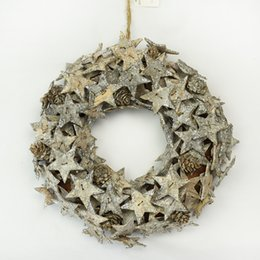 hanging star christmas decoration NZ - natural birch bark star wreath Christmas hanging home use round wreath