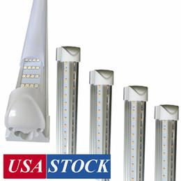 Ingrosso Luci del negozio a LED da 8 piedi, portafoglio di frigorifero a LED a LED a 8 piedi, 4 righe 144W 14400 LM, tubi a LED fluorescenti a forma di V luci chiare