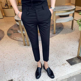 style dress trousers UK - British Style Summer Formal Pants for Men 2020 Simple Solid Business Dress Pants Men Ankle Length Slim Fit Trousers 3Colors