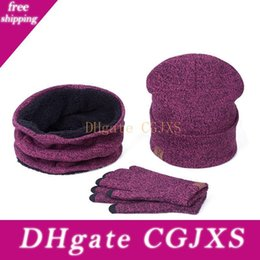 wool scarf hat UK - 2018 New Women Men Hat Caps Knitted Beanies Wool Warm Scarf Thick Windproof Balaclava Hat Scarf Gloves 3 Pieces Set For Female