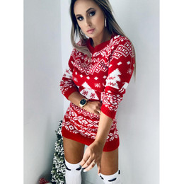 Wholesale womens christmas sweaters for sale - Group buy Womens Designer Christmas Theme Sweater Dress Long Sleeve O Neck Fashion Autumn Winter Slim Clothing Womens Casual Knitted Sweater Dress