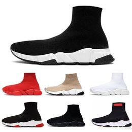 Wholesale people court for sale – custom Luxury designer stretch speed trainer black Tan people speed mid to high end coach socks shoes men s shoes casual women s shoes