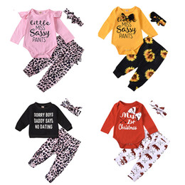 Wholesale black lace trousers for sale – dress Infant Baby Cartoon Sets Letter Leopard Tops Ruffle Rompers Sunflower Pants Leopard Lace Elastic Trousers Headband Kids Baby Clothes