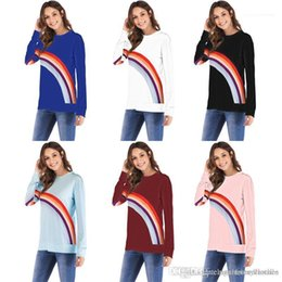 rainbow tshirts NZ - Tshirts Long Sleeved Tees Clothing Women Autumn Bottoming Tops Hot Rainbow Printed Casual O-neck