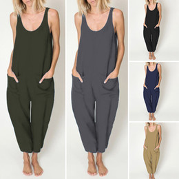 Wholesale rompers resale online - 2020 Summer Rompers VONDA Women Fashion Solid Long Jumpsuits Sexy Sleeveless Vintage Casual Wide Leg Pants Loose Dungarees XL