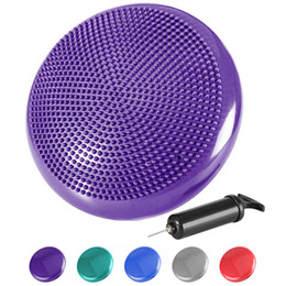 blue gym mats Canada - Virson Inflatable Massage Yoga Mat Colourful Yoga Massage Ball Pad with Pump Air Gym Home Exercise Ball Cushion