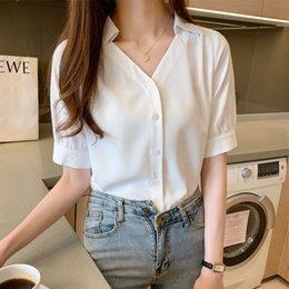 Wholesale new ladies shirt short design for sale – custom 2020 summer new short sleeved chiffon ladies design sense niche sexy v neck loose shirt base shirt