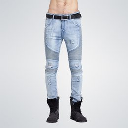 hip hop style ripped jeans NZ - 2019 hip-hop Men masculina Casual Denim distressed Men's Slim pants Brand Biker skinny rock ripped Jeans homme MX200814