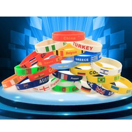 football decorations for party UK - Silicone Bracelet For 2018 Football soccer Gel Flag Sport Wristband Fans Bracelet For Party Decoration Festive Gift XD20081