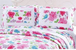 patchwork bedding UK - Wholesale-Cotton Summer Blanket Quilted Counterpane Floral Patchwork Quilt Bed Sheet Set by 2PC Pillowcase Adult Bed Quilt Cover Bedsp RCnu#