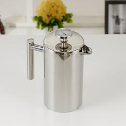 venda por atacado 350/800 / 1000ML Coffee Pots French Press Chá Duplo Walled Stainless Steel Cafeteira chá Pot com filtro Filtro GGA3697-3