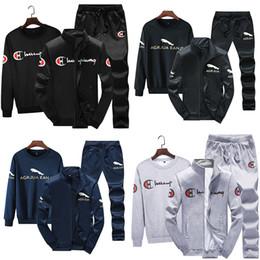 Wholesale mens jacket fall resale online – Champions Mens Fleece Fall Clothing Jackets Hoodies Pants Piece Set Outfits Warm Thick Tracksuit Jogger Suit Winter Plus Size M XL