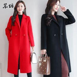 Wholesale women s camel color coats for sale - Group buy New Autumn Windbreaker Korean Clothes Winter Jacket Blue Streetwear Plus Size Women Red Long Coat Black Camel Color