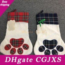 Wholesale long patterned socks for sale - Group buy 4 Styles Large Fluffy Christmas Stocking Pet Dog Plaid Paw Santa Socks Snowflake Xmas Tree Pattern Christmas Decoration