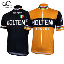 Wholesale only men s clothing for sale – custom 5pcs Molteni ropa ciclismo Sportswear cycling jersey only short Sleeve Summer Cycling Clothing orange black mtb maillot