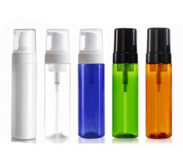 foaming bottles pumps wholesale NZ - 100 x 200ml Empty Plastic PET Foaming Bottle Soap Dispenser Jar Container White & Black Foam Soap Dispense Foam Pump SN596