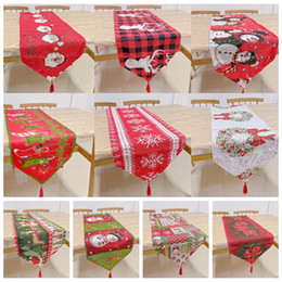 christmas tables NZ - Christmas Runner Flag Table Cloth Santa Claus Banquet Home Decoration Embroidered Xmas Table XMAS cartoon Cover Mat Cover FFA4335