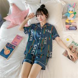 Wholesale ice pants online – Summer students Korean version of lovely home wear set ice silk pajamas women summer short sleeve two piece suit imitation silk