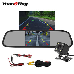 "field monitors NZ - YuanTing 4.3"" Mirror Monitor Kit with Car 4 LEDs Waterproof Night Vision Reversing Backup Camera 170 Degree Wide View Field"