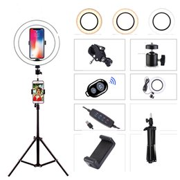luce Video Foto anello di luce LED Studio Camera Fotografia Luce dimmerabile per Youtube trucco selfie con treppiede Phone Holder in Offerta