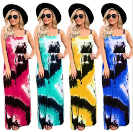 Wholesale designer maxi dresses resale online – Femal Dresses Women Maxi Tie Dye Dress Printed Suspender Long Dresses Summer Fashion Sleeveless Loose Casual Dreesses Women Clothes DHD818