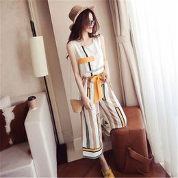 Wholesale wide leg work pants resale online – 2020 Women Summer Sleeveless Striped Casual Top Women Two Piece Set Work Wide Leg Pants Elegant Chiffon Office Lady Suit