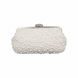 vintage beaded clutch evening bag NZ - IMIDO Vintage Evening Bag Handmade Pearl Wrist Bag Handbag Velour Women Chain Beaded Crystal Bags Fashion Banquet Clutch elJZ#