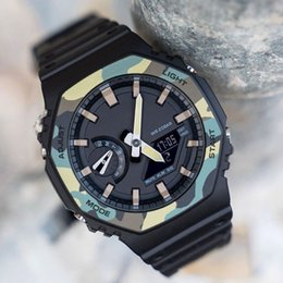 Wholesale camo box online – oversize Top Sale Shock Mens Watches G Style Shock Watches Waterproof Camo Green Sport Watch With Box Saat Multifunction LED Clock