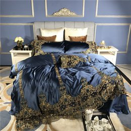 romantic lace queen bedding sets UK - Blue Luxury Romantic Golden Lace Embroidery 100S Silk cotton Royal Soft Bedding Set Duvet cover Bed sheet Bed Linen Pillowcases T200814